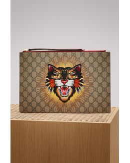 Angry Cat Print Gg Supreme Pouch