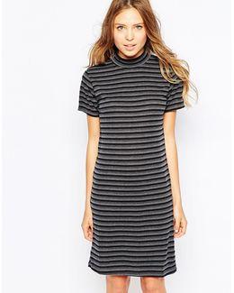 High Neck Striped Bodycon Dress