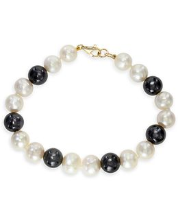 14k Yellow Gold 9mm Pearl And 38.45ct Onyx Tennis Bracelet