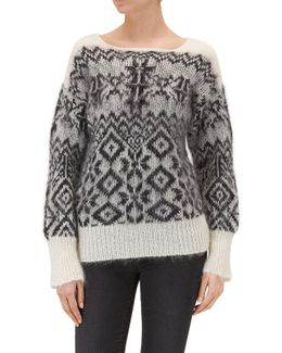 Jacquard Sweater Black & White Mixed Fabrics