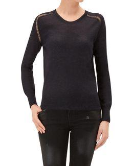 Crew Neck Sweater Black Mixed Fabrics