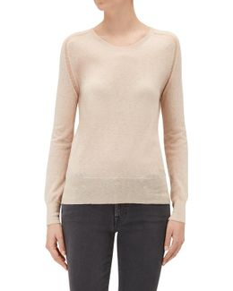 Crew Neck Sweater Dusty Rose Mixed Fabrics