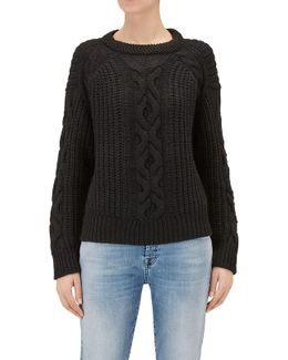 Cable Knit Black Wool