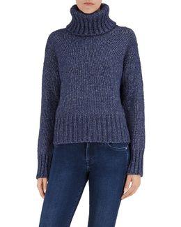 Turtle Neck Sweater Mixed Fabrics Navy