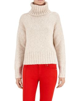 Turtle Neck Sweater Mixed Fabrics Ecru