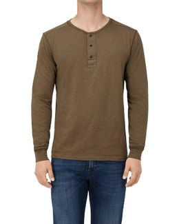 Serafino L/s T-shirt Jersey Slub Khaki