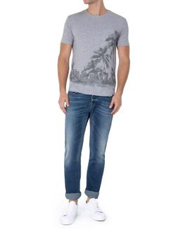 One Pocket Graphic T-shirt Palms Grey Melange