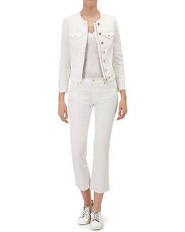 Denim Jacket Embroidered White