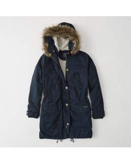 Sherpa-lined Twill Parka