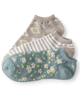 3-pack Diamond Flower, Floral & Stripe Ankle Socks