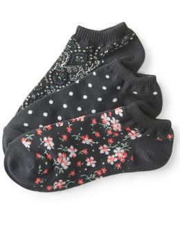 3-pack Paisley, Floral & Dot Ankle Socks