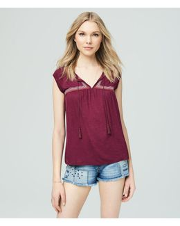 Cape Juby Embroidered Peasant Top