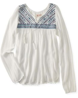 Cape Juby Embroidered Tassel Tie Top