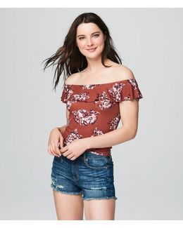 Cape Juby Floral Ruffle Bodycon Top