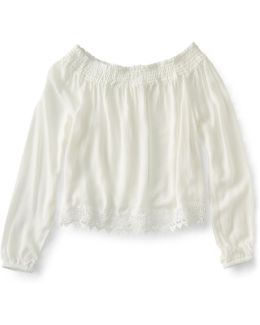 Cape Juby Lace Trim Off The Shoulder Peasant Top