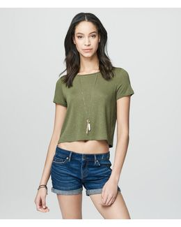 Cape Juby Solid Shadow Stripe Cropped Tee
