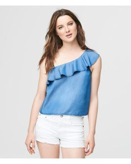 Chambray Ruffled One-shoulder Top