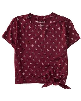 Diamond Dot Tie-front Crop Tee