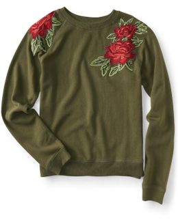 Embroidered Roses Sweatshirt