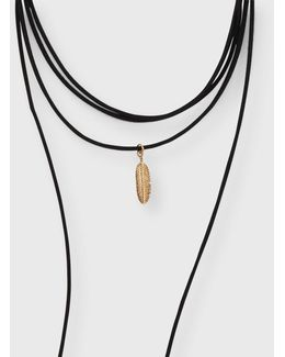 Feather Wrap Choker Short-strand Necklace