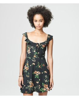 Floral Ruffle-sleeve Dress