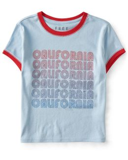 California Cropped Ringer Tee