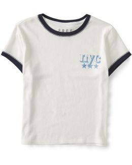 Nyc Cropped Ringer Tee