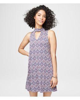 Printed Choker-cut Shift Dress