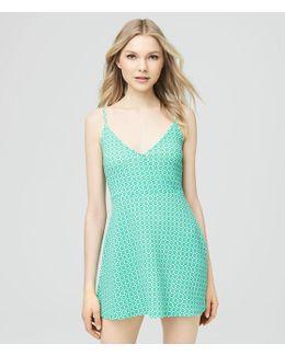 Geometric Textured Wrap Dress