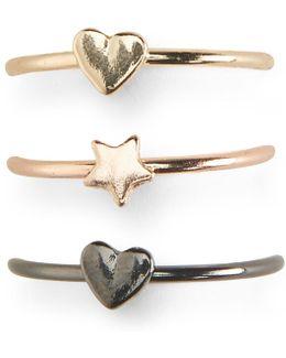 Heart Star Ring 3-pack