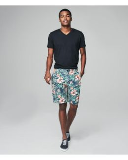 Hibiscus Flat-front Shorts