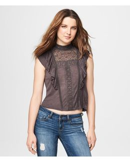 Lacy Mock-neck Ruffle Top