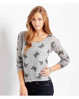 Long Sleeve Sheer Butterflies Sweater