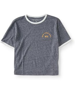 New York City Crop Ringer Tee
