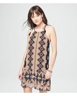 Printed Ruffled Slip Dress