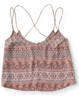 Paisley Charmeuse V-neck Crop Cami