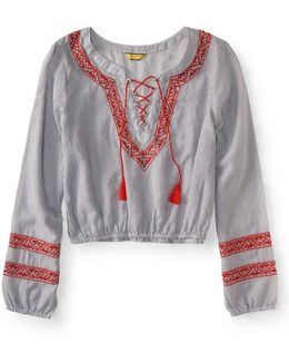 Prince & Fox Railroad Stripe Embroidered Lace Up Peasant Top