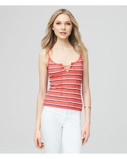 Prince & Fox Striped Rib Lace Up Tank