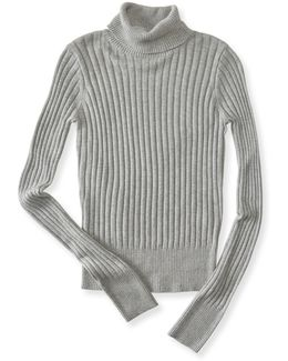 Solid Ribbed Turtleneck Sweater