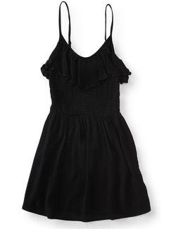 Solid Ruffle Smock Dress