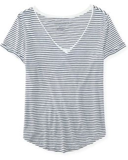 Striped Boxy V-neck Tee