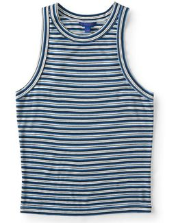 Striped High-neck Bodycon Tank
