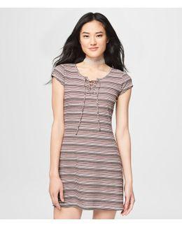 Ribbed Stripe Lace-up Dress