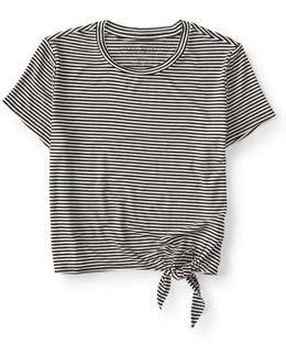 Striped Tie-front Crop Tee