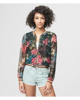 Tropical Mesh Bomber Jacket