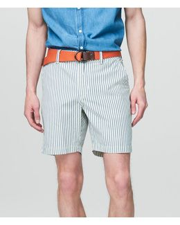 Vertical Stripe Belted Chino Shorts