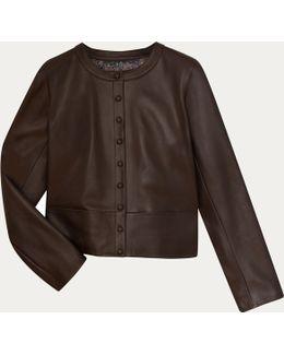 Dark Brown Leather Cardigan