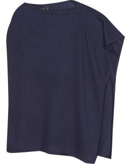 Blue Fine-knit Poncho