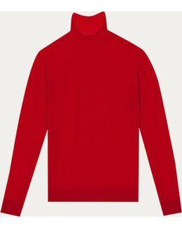 Red Soft Merinos Wool Pullover Allure
