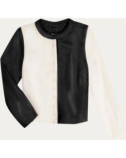 Black And White Soft Leather Cardigan Mini